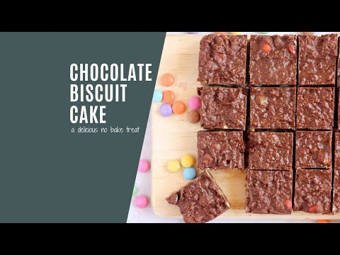 A no-bake chocolate biscuit cake