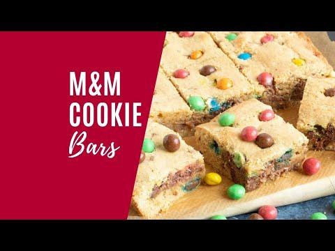 M&M Chocolate Chip Cookie Bars