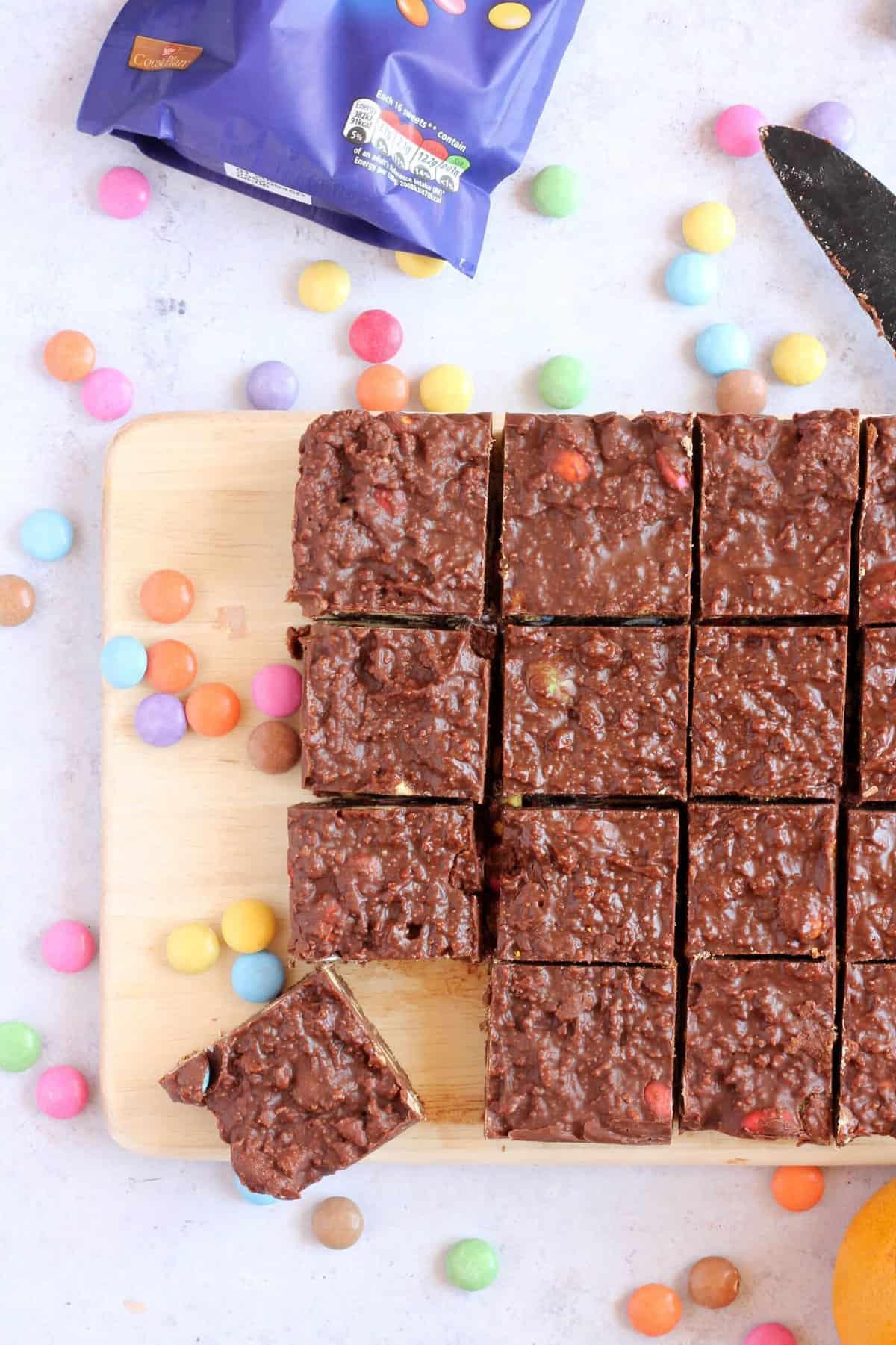 Overhead image of fridge cake with smarties