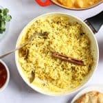 Homemade pilau rice in a pan
