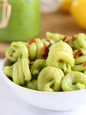 Bowl of pesto pasta