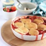 Strawberry Cobbler in a large serving dish