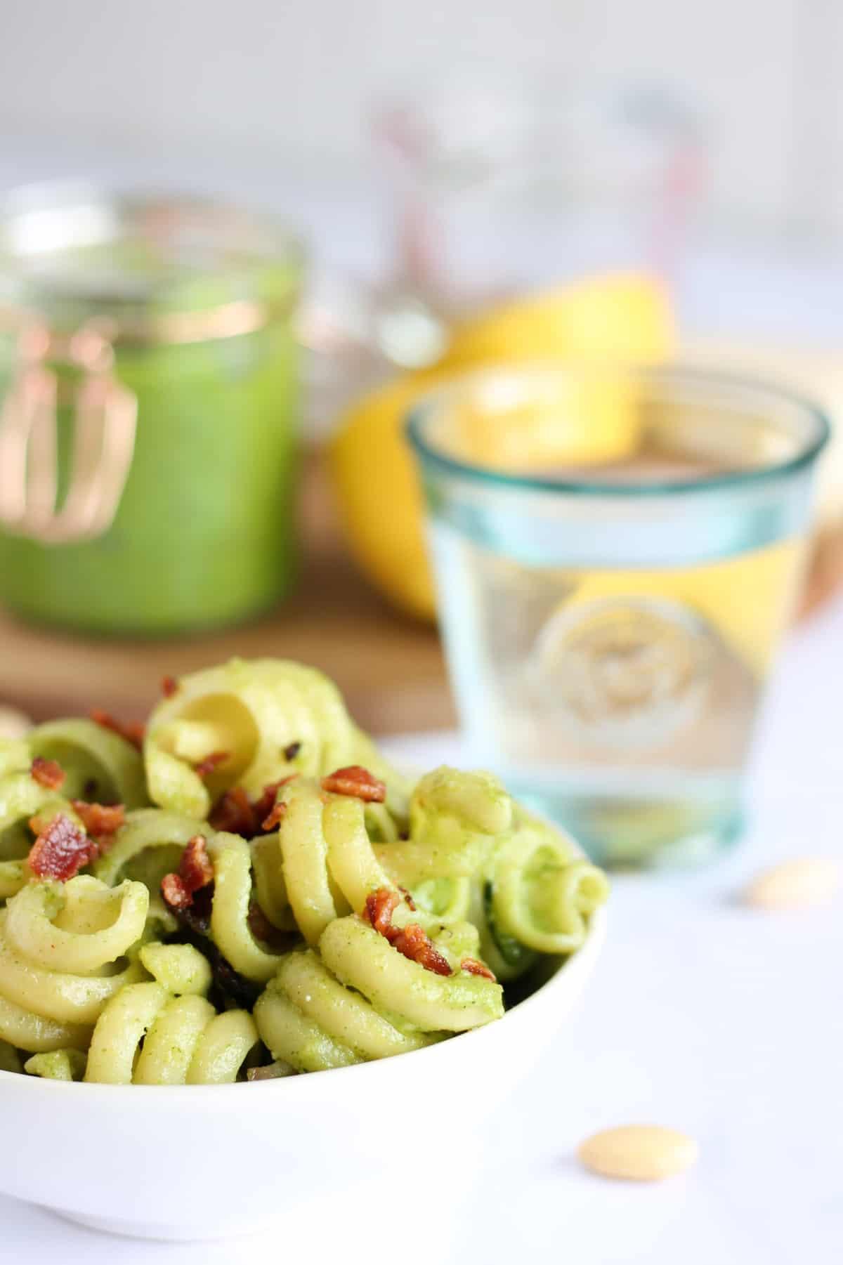 A close-up image of pasta
