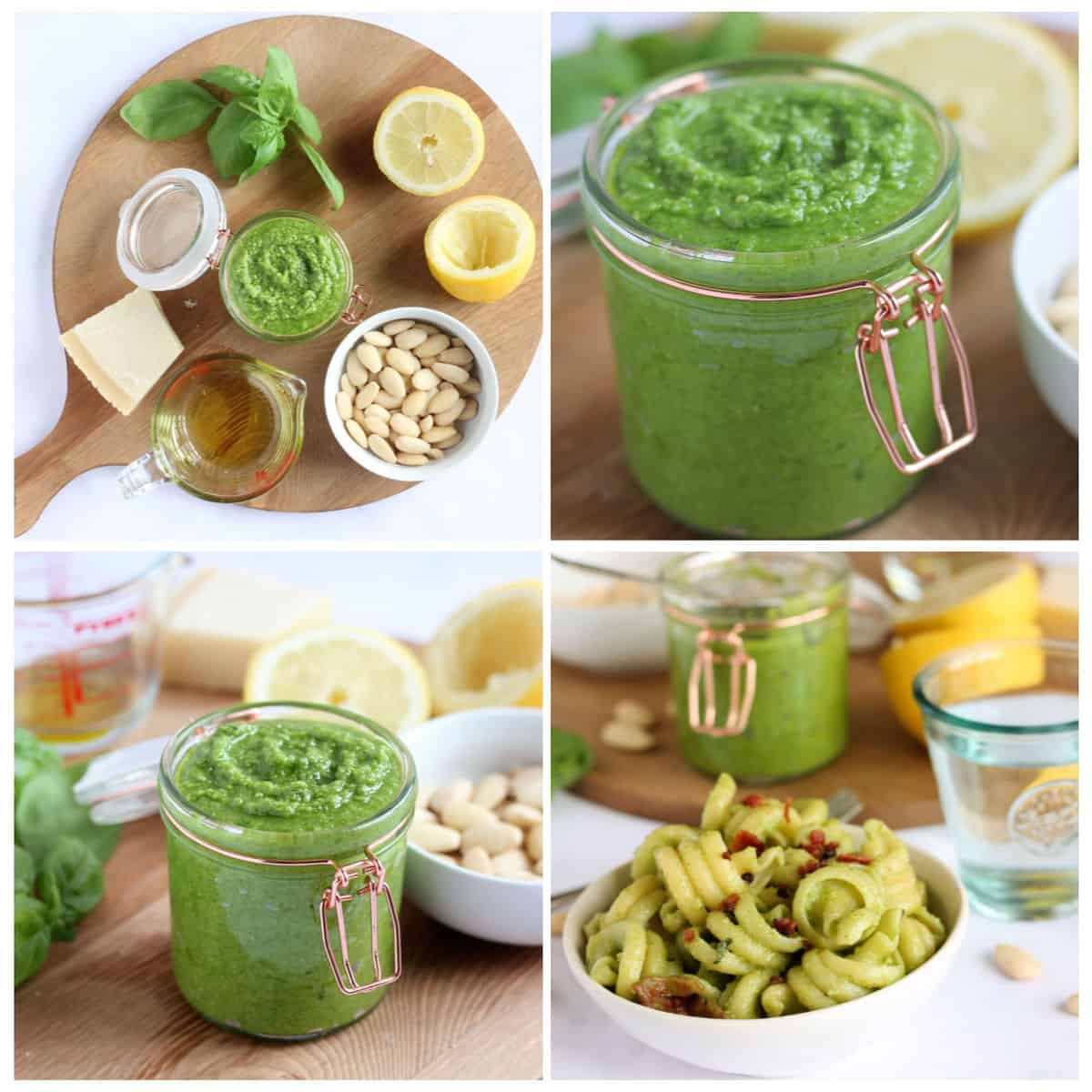 Step by step photo instructions for making pesto pasta