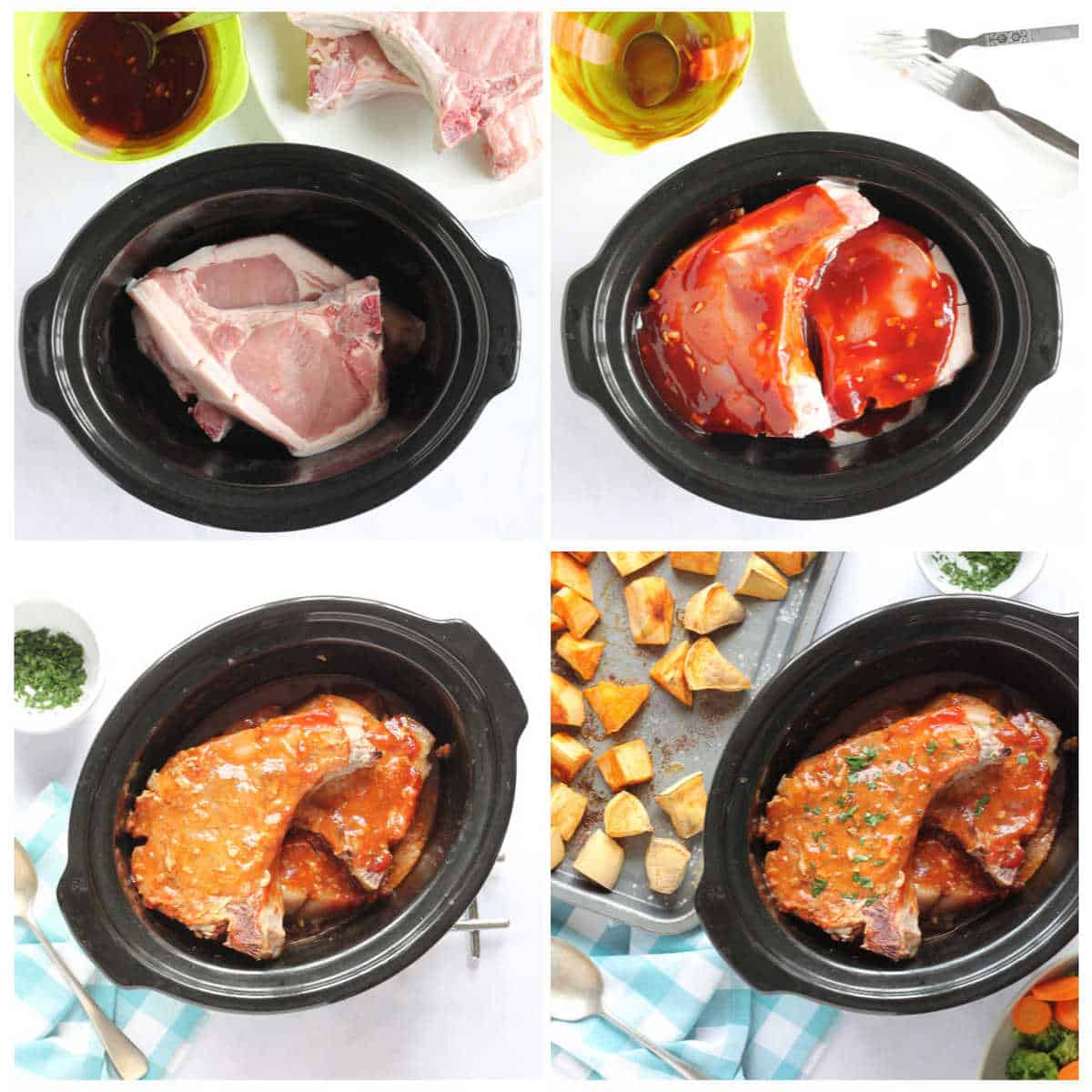 Step-by-step slow cooker pork chops photo instructions.