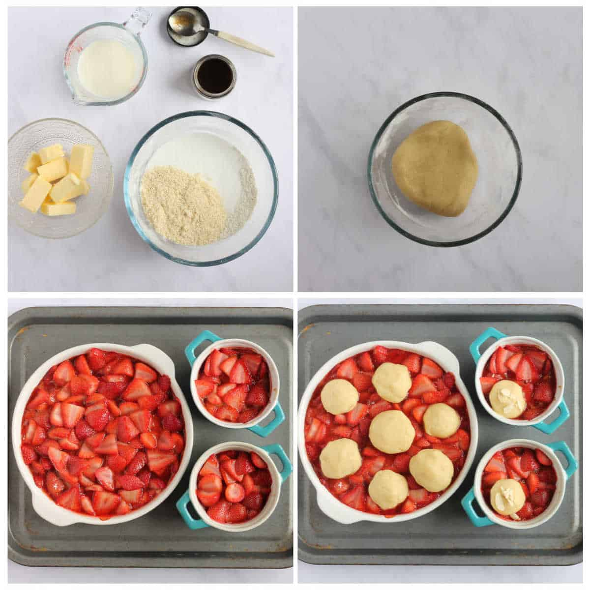 Cobbler topping step by step photos for strawberry cobbler recipe.