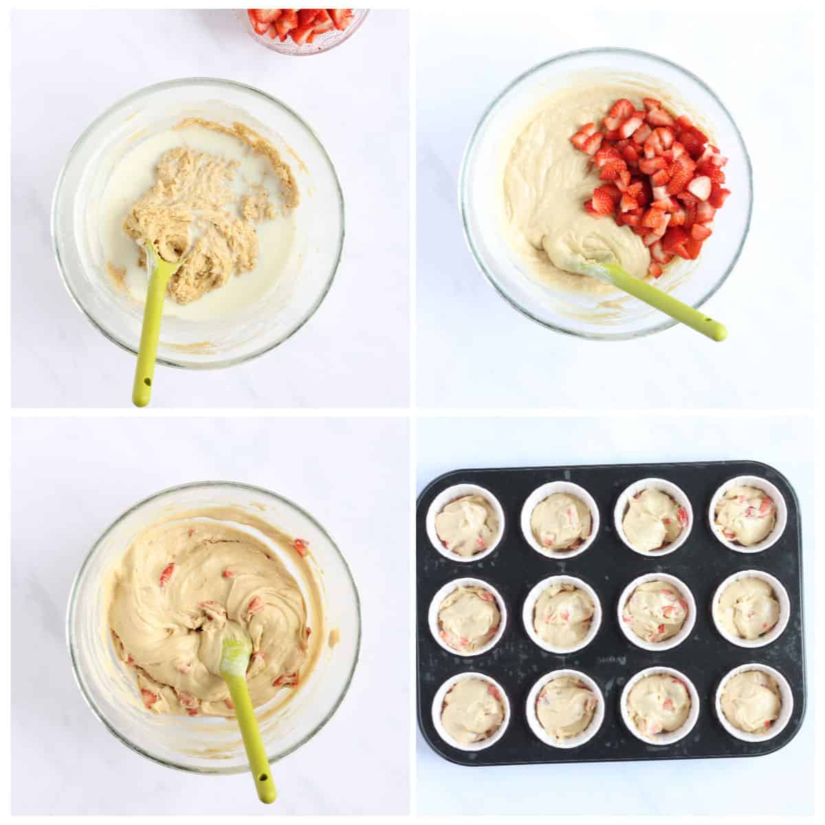 Step by step how to make strawberry muffins (steps 5-8)