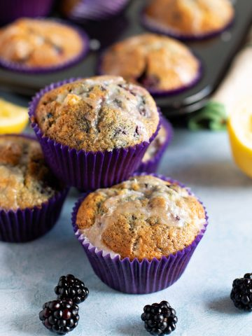 B;ackberry and lemon muffins stacked up