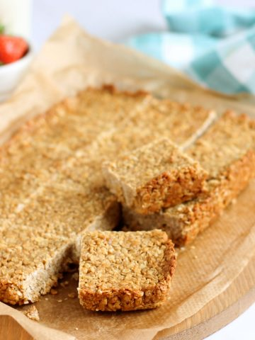 Vegan flapjacks cut into squares