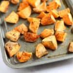 A tray of roast sweet potatoes
