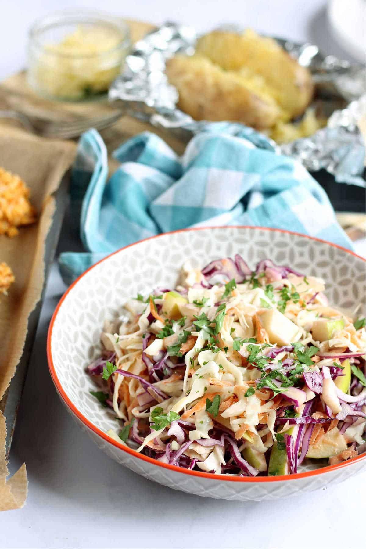 A close-up shot of homemade coleslaw.