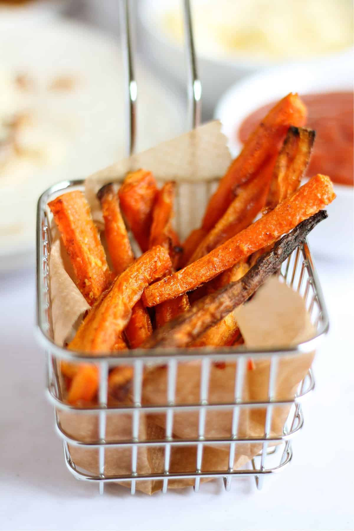 A portion of baked carrot fries
