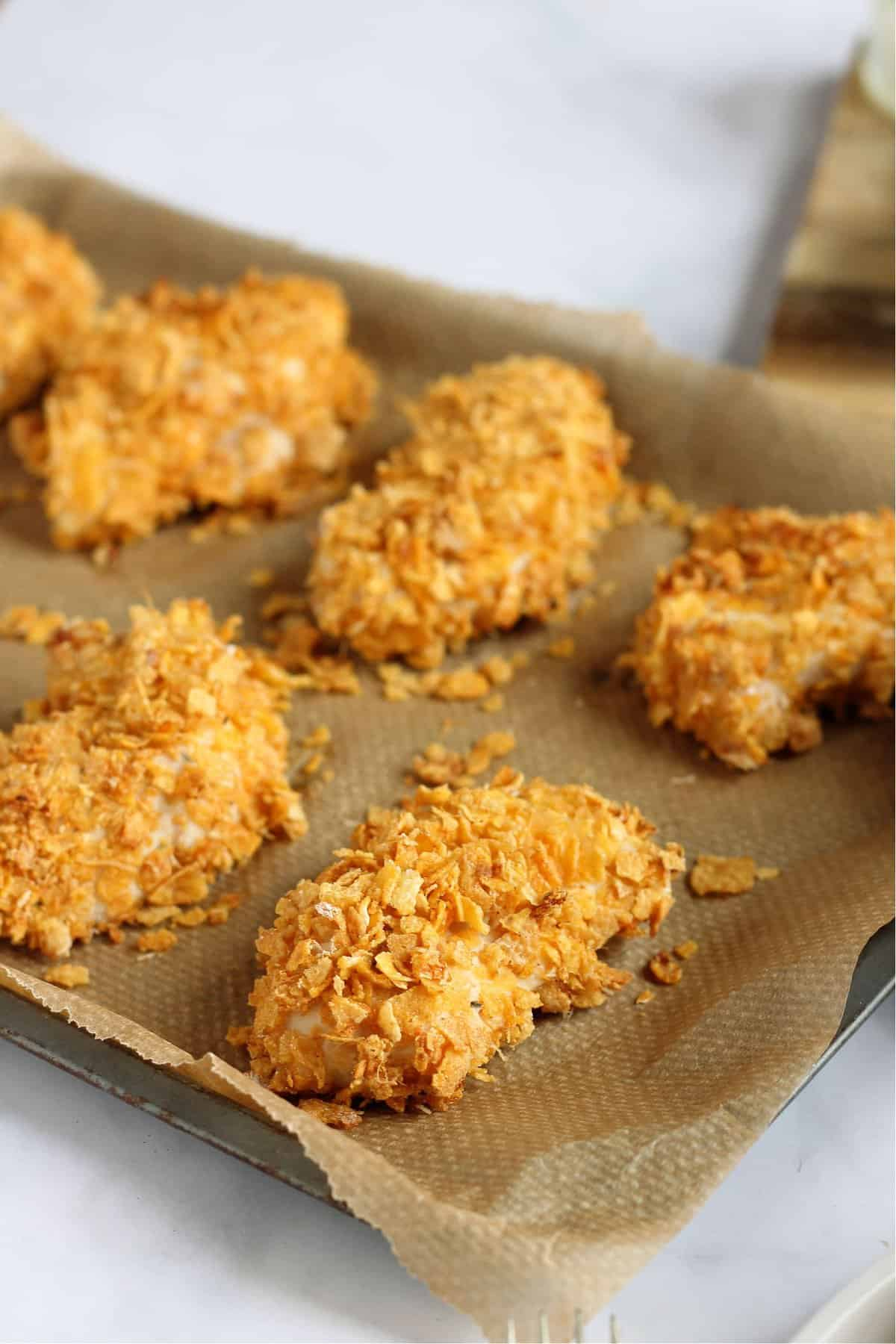 A tray of homemade cornflake chicken nuggets