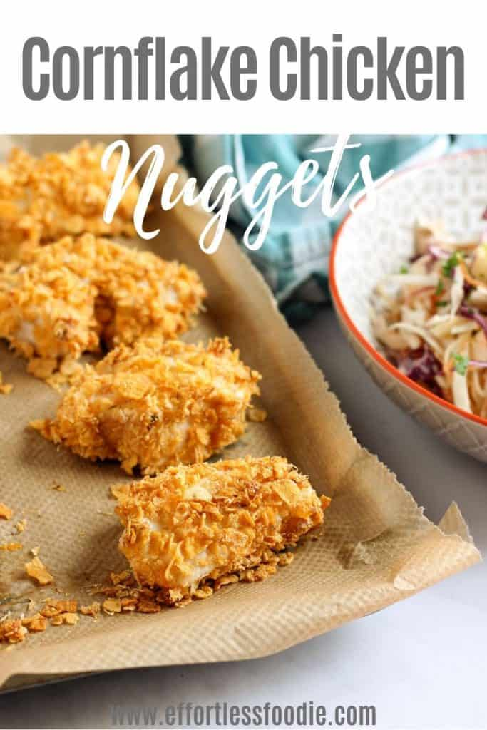Cornflake chicken nuggets pin image