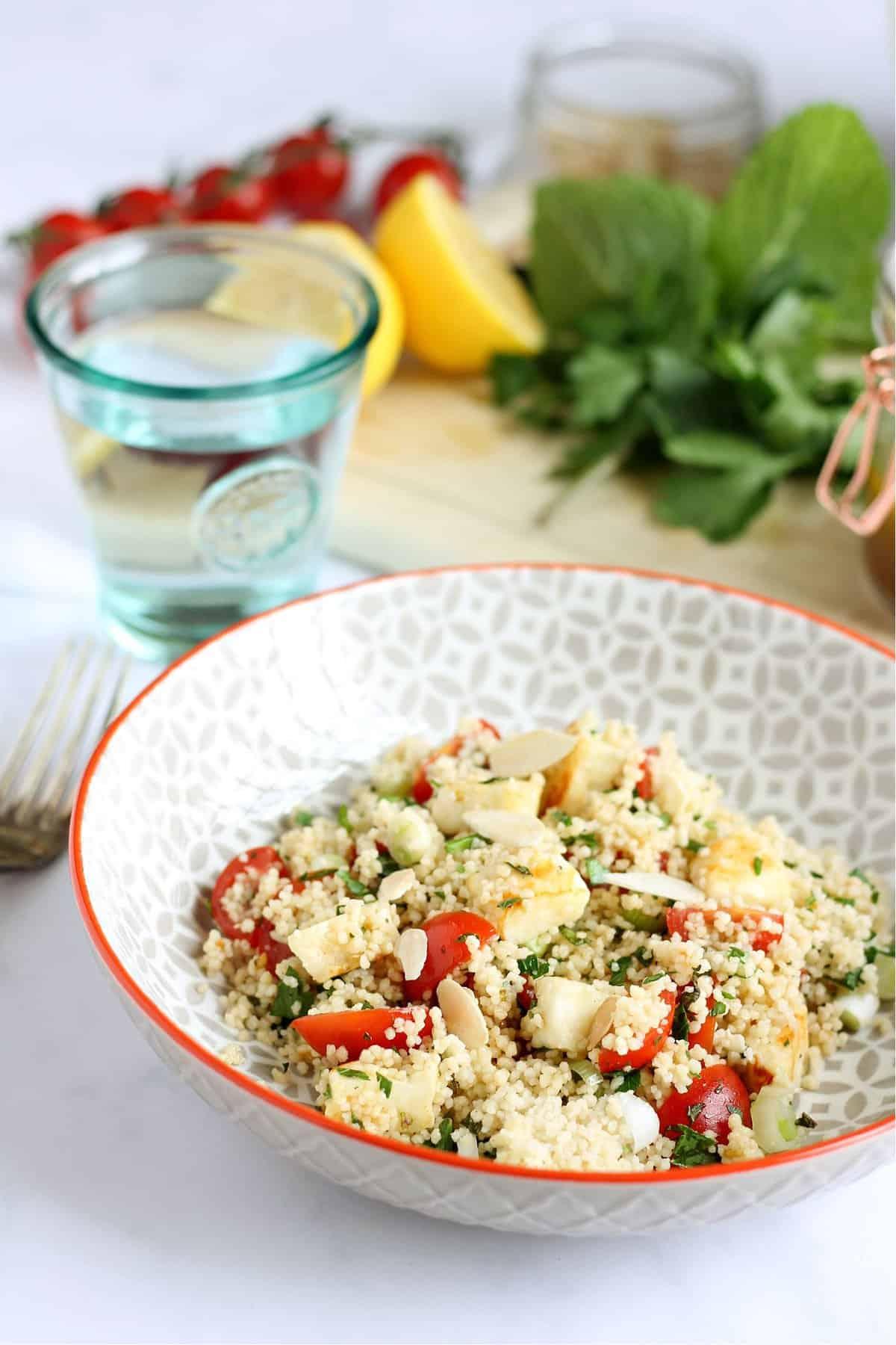 Close-up of halloumi couscous salad