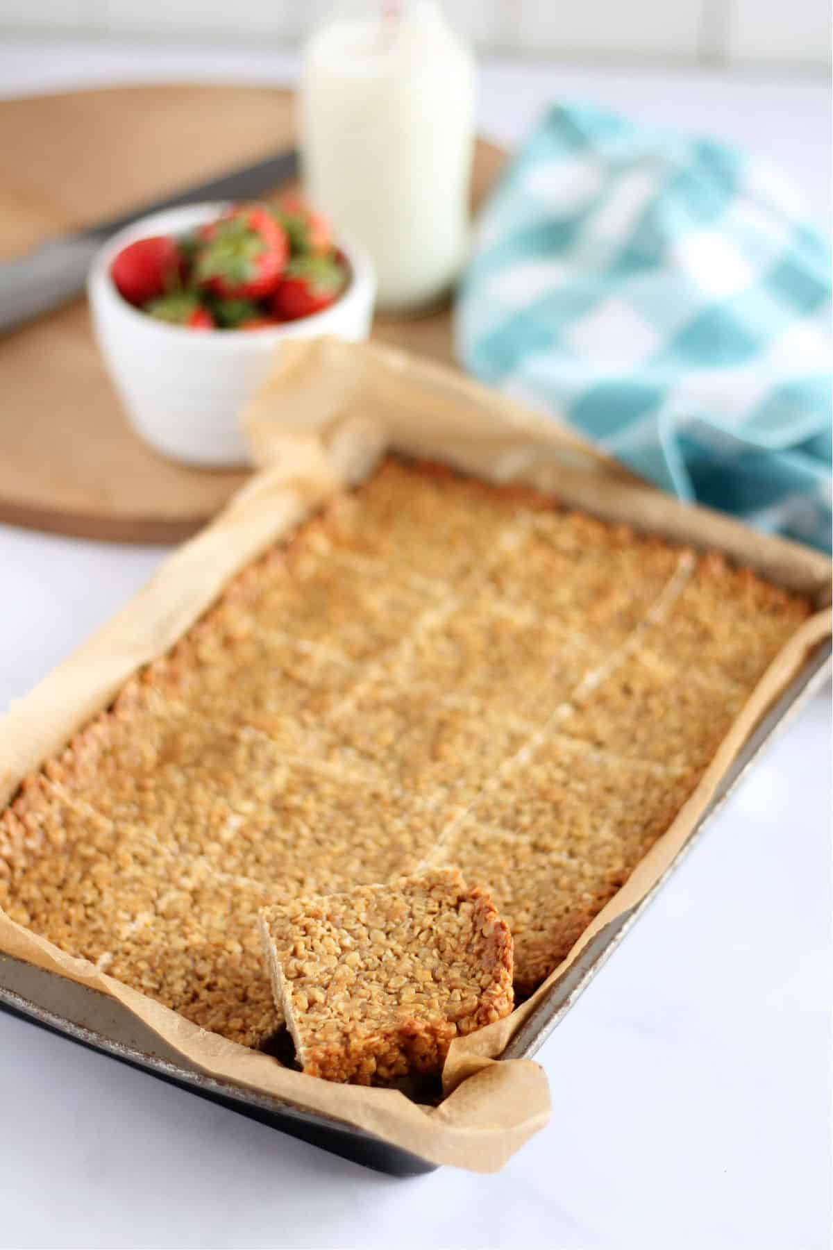Close up of crunchy peanut butter flapjack
