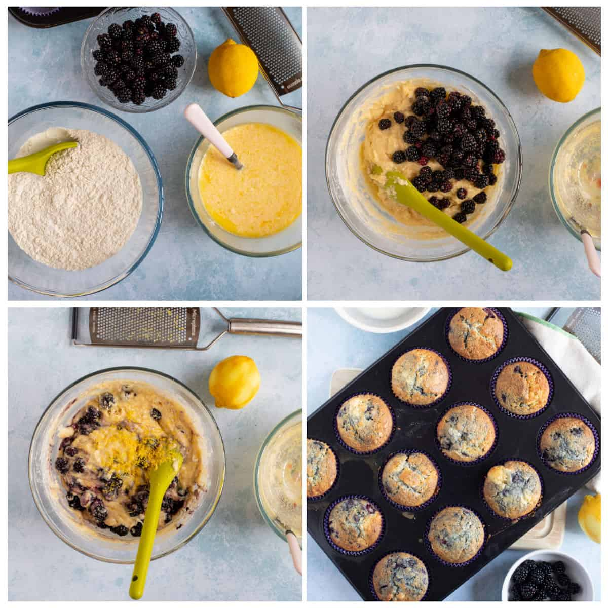 step by step photo instructions for making the muffins