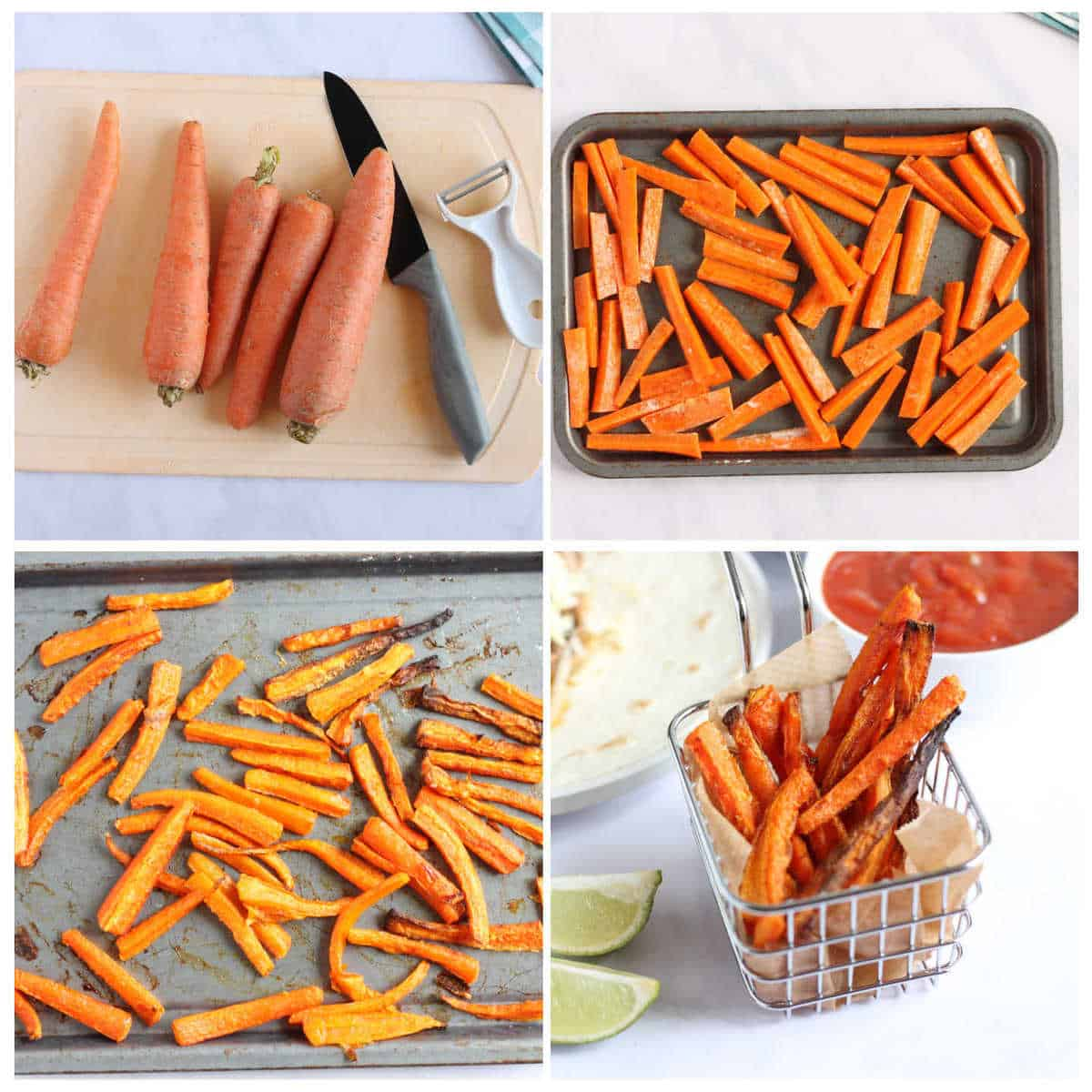 Step by step photo instructions for making baked carrot fires (chips)