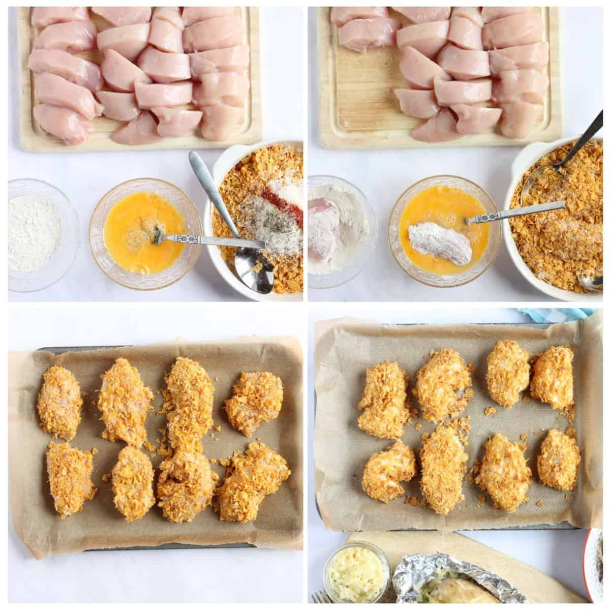 Step by step photo instructions for making cornflake chicken nuggets