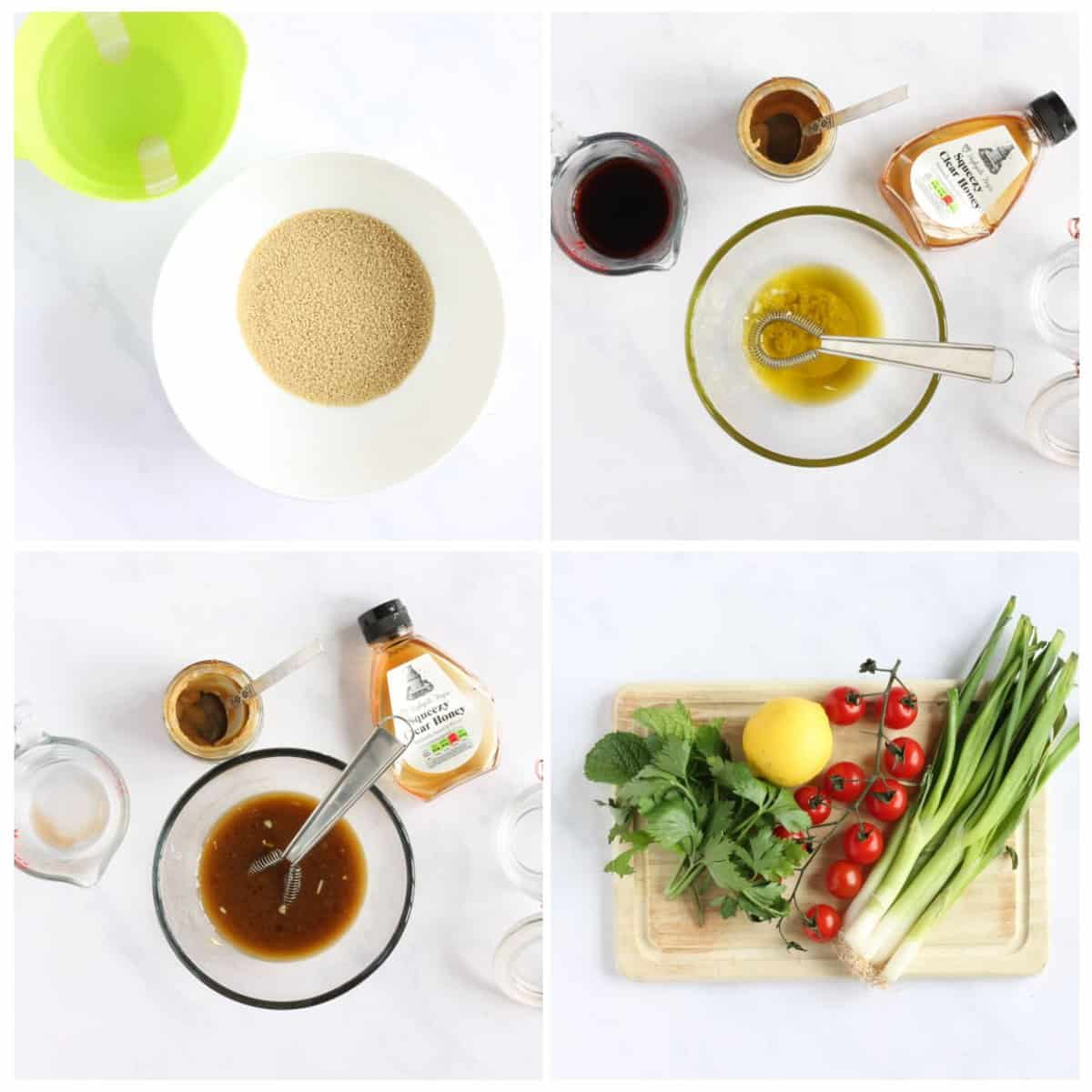 Step by step photo instructions for making halloumi couscous part 1