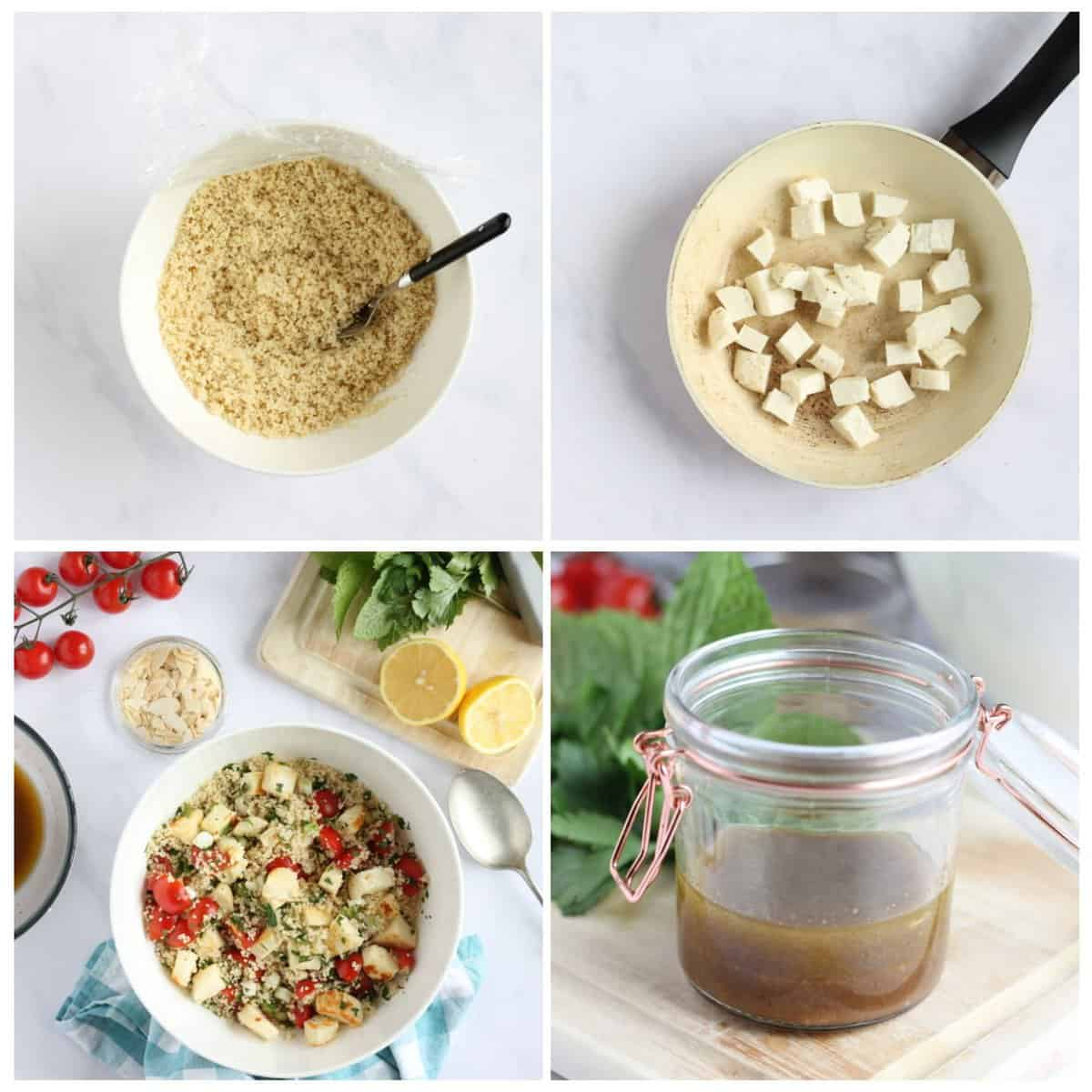 Step by step photo instructions for making halloumi couscous part 2