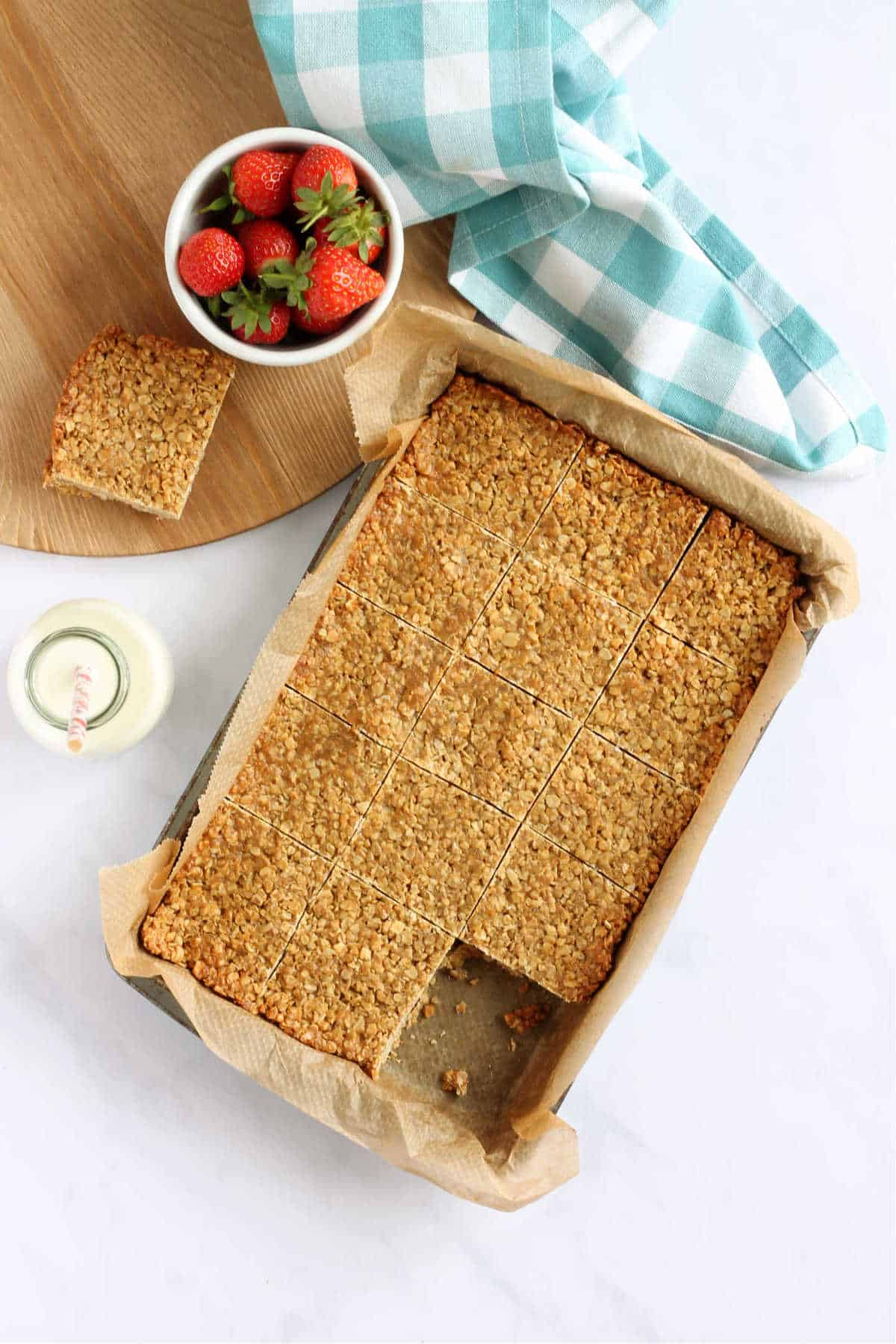 Overhead shot of a tray of baked flapjacks