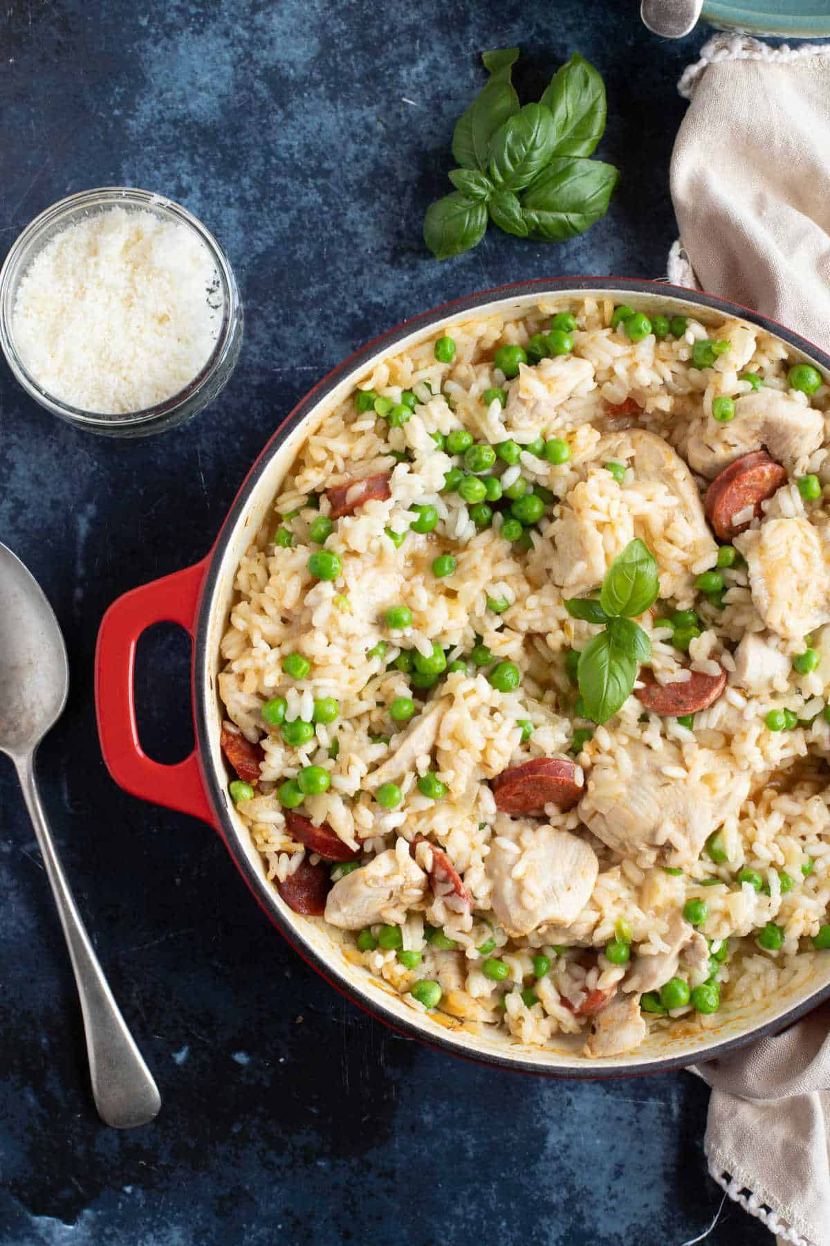 A pan of chicken and chorizo risotto.