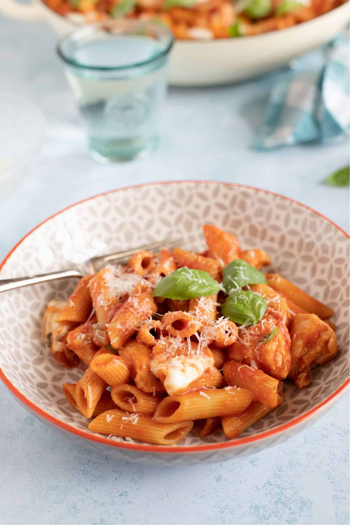A close up of a bowl of tomato and chicken pasta.