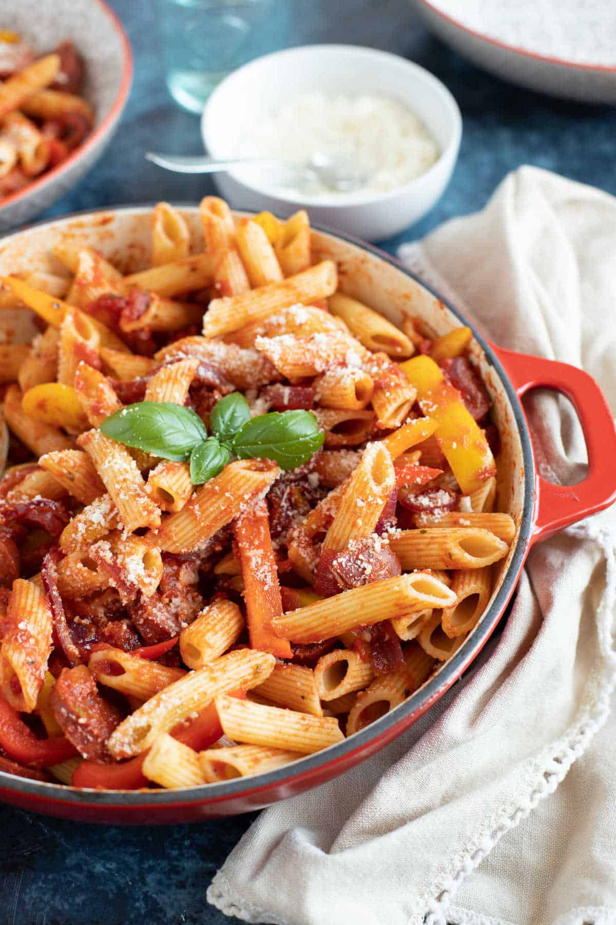 A pan of chorizo and pepper pasta.