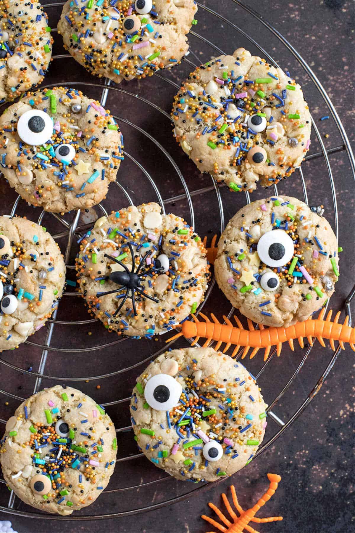 Overhead shot of Halloween cookies on a cooling rack