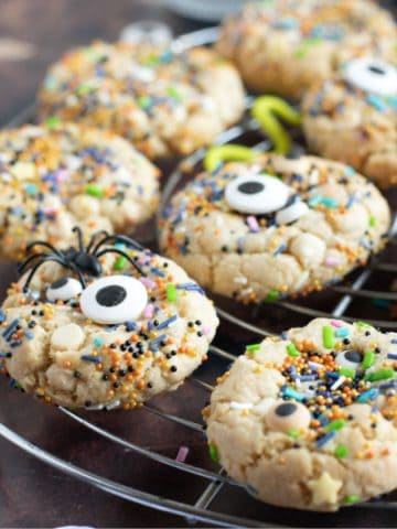 Halloween sprinkle cookie close-up.