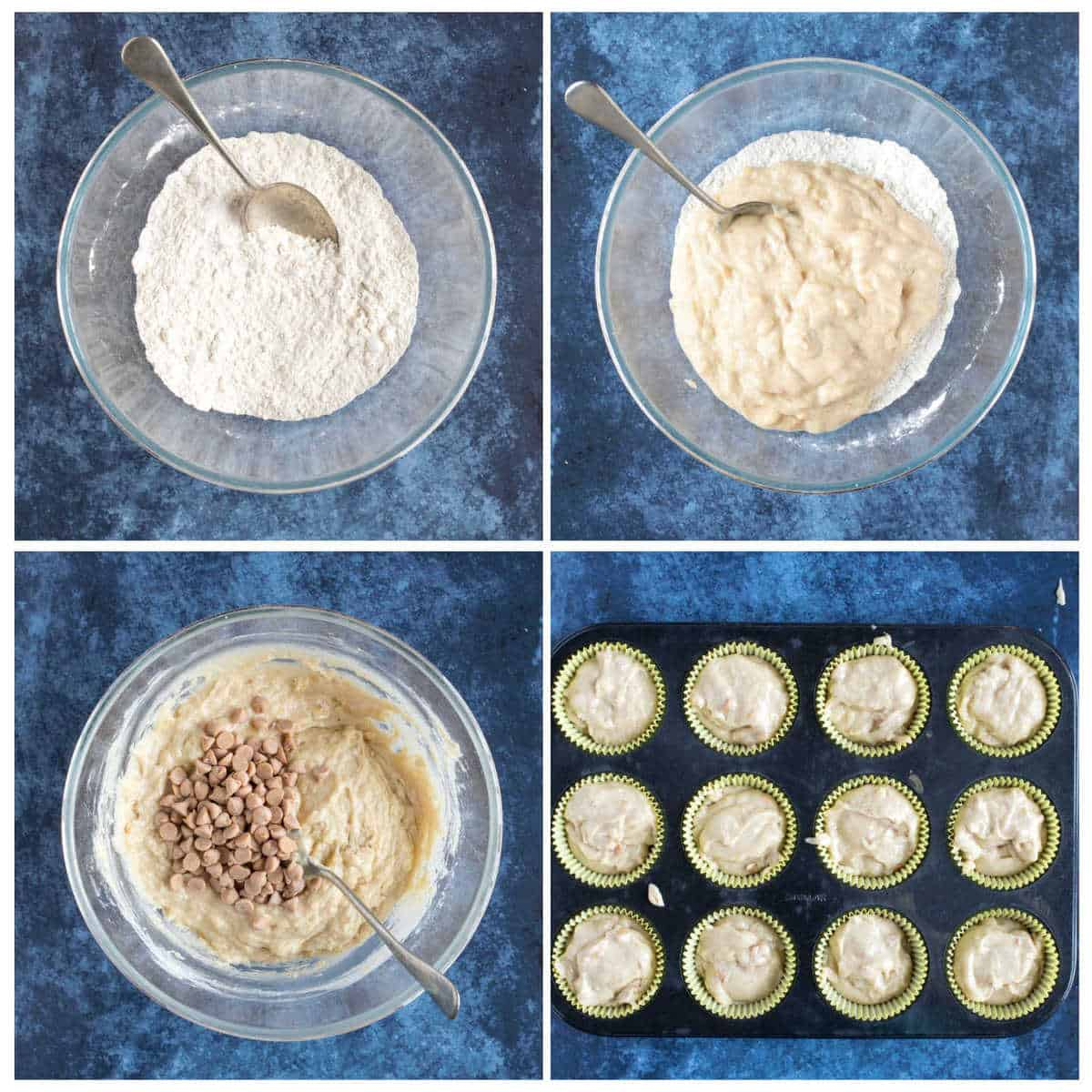 Step by step photo instructions for making the peanut butter and banana muffins.