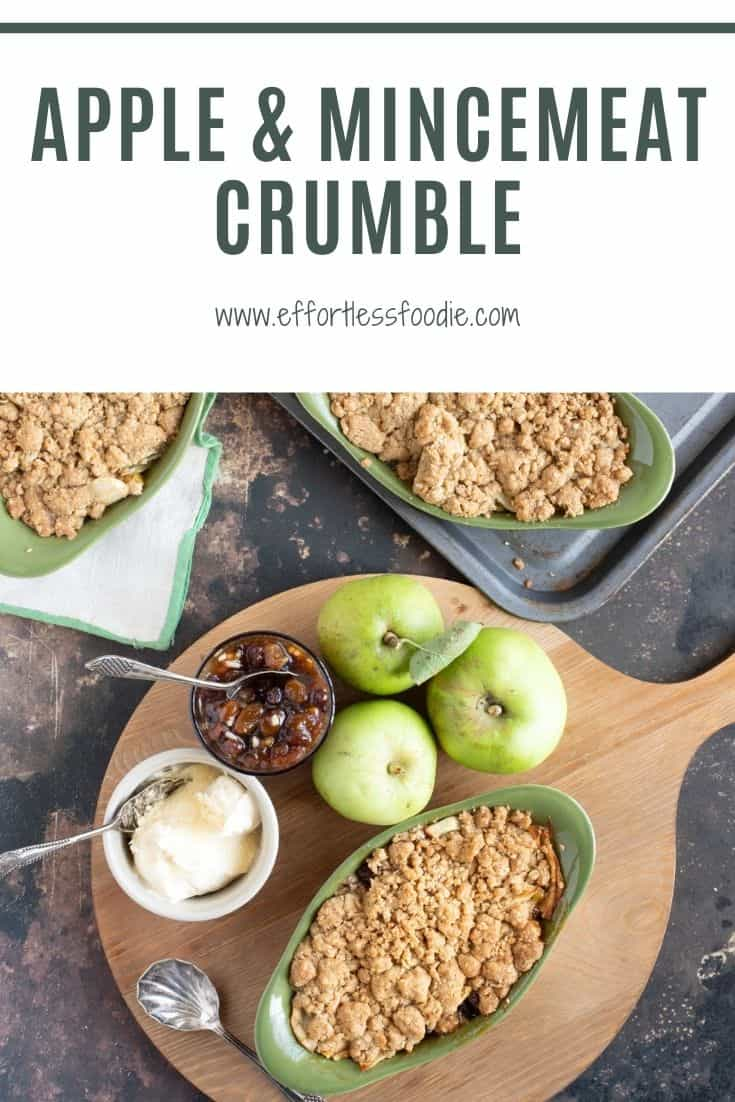 Apple and Mincemeat Crumble Pinterest Pin with text overlay.