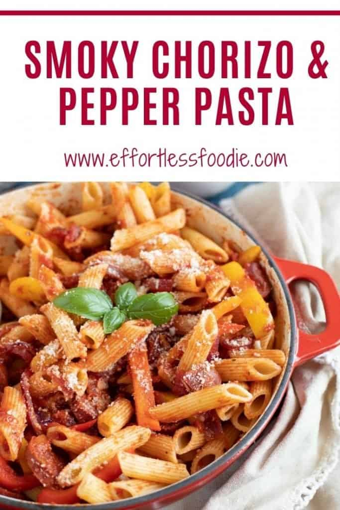 Chorizo and Pepper Pasta Pin with text overlay.