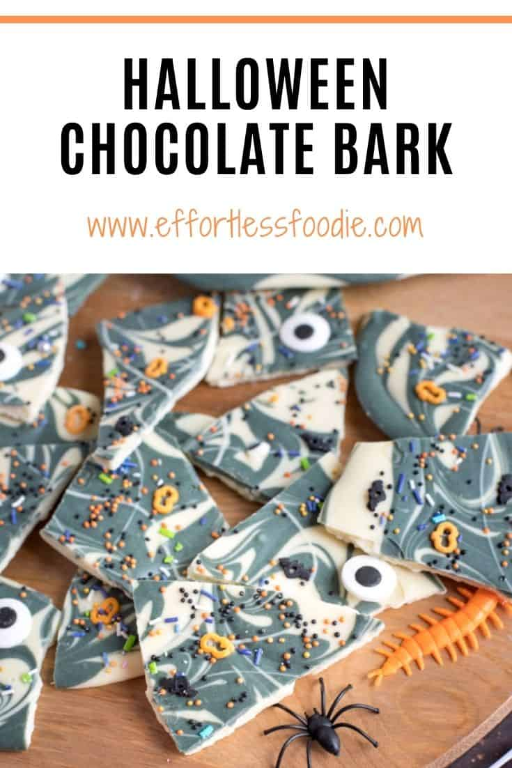 Halloween CHocolate Bark Pinterest Pin with text overlay.