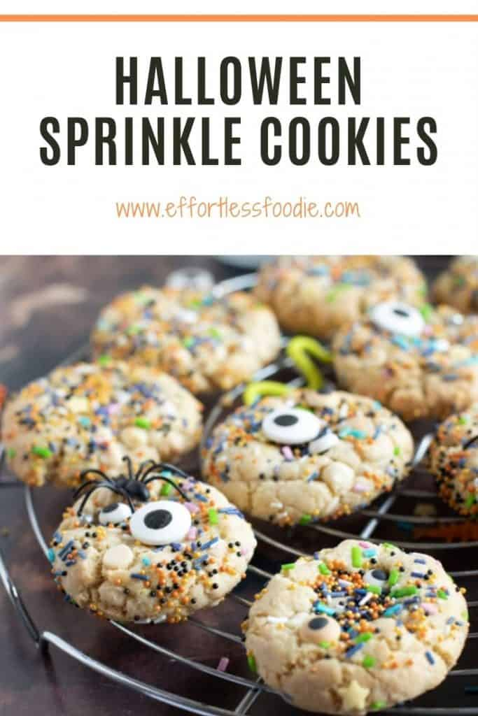 Halloween Sprinkle Cookies Pin image for Pinterest with text overlay.
