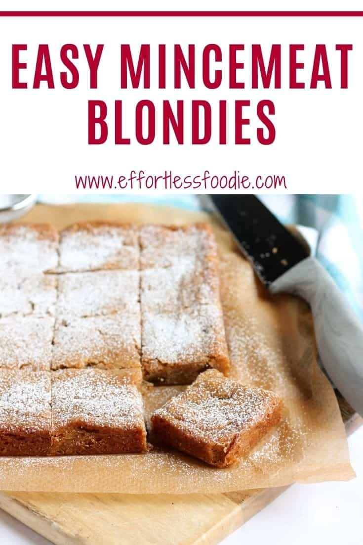 Mincemeat Blondies Pinterest pin with text overlay.