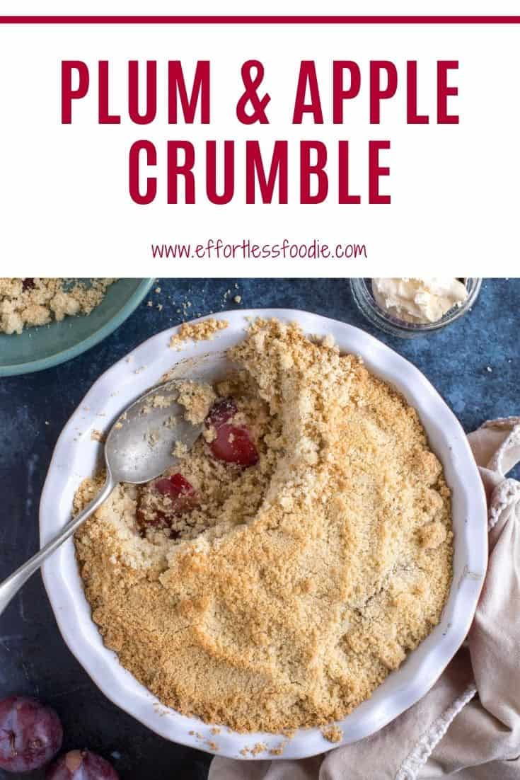 Plum and apple crumble Pinterest pin with text overlay.