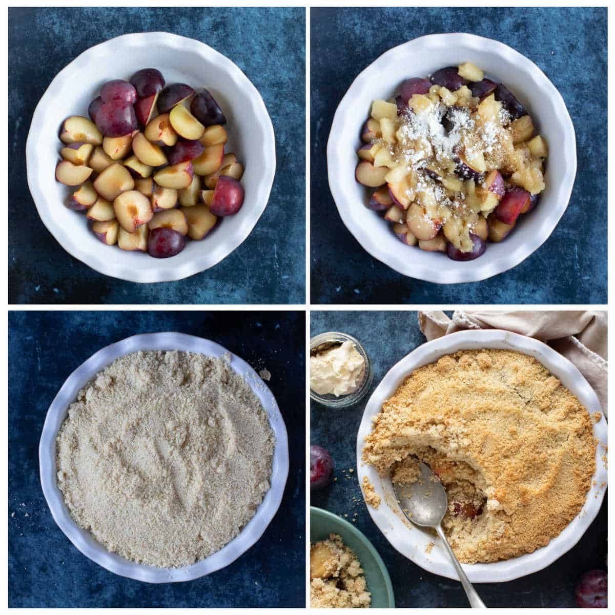 Step by step instruction photo collage for making the plum and apple crumble.