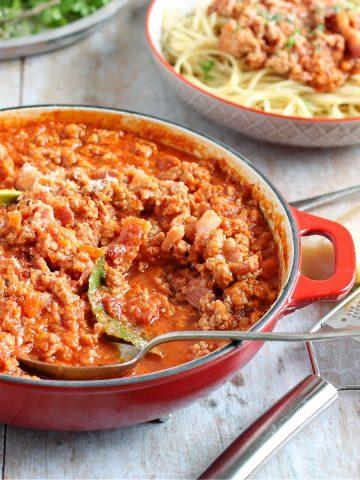 pork bolognese in a casserole