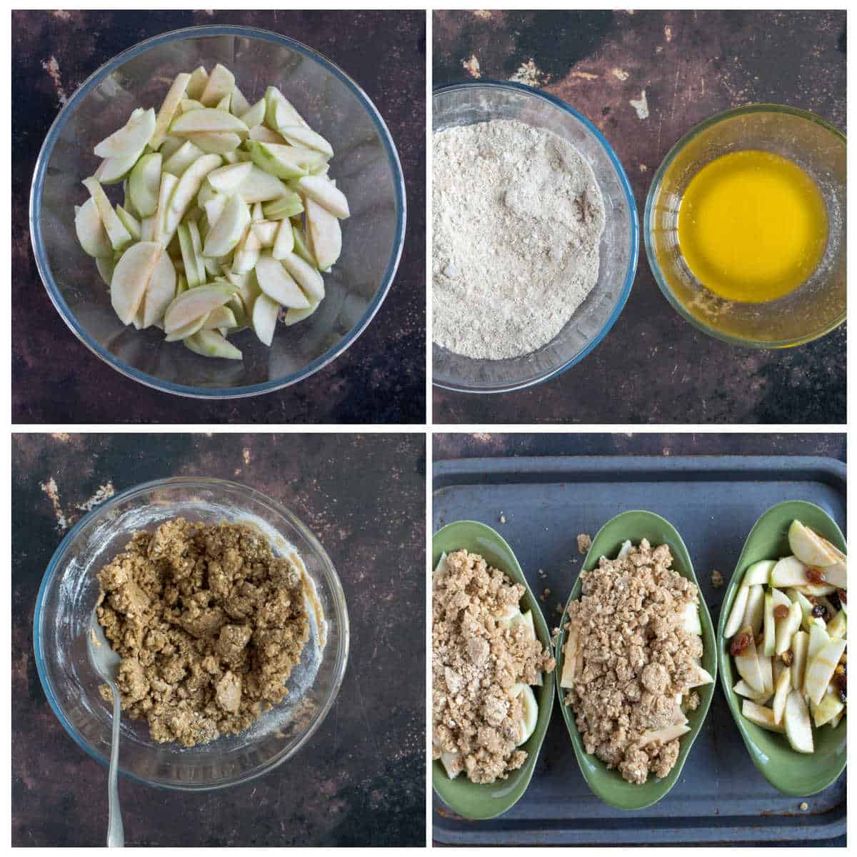 Step by step photo instructions for making the apple and mincemeat crumble.