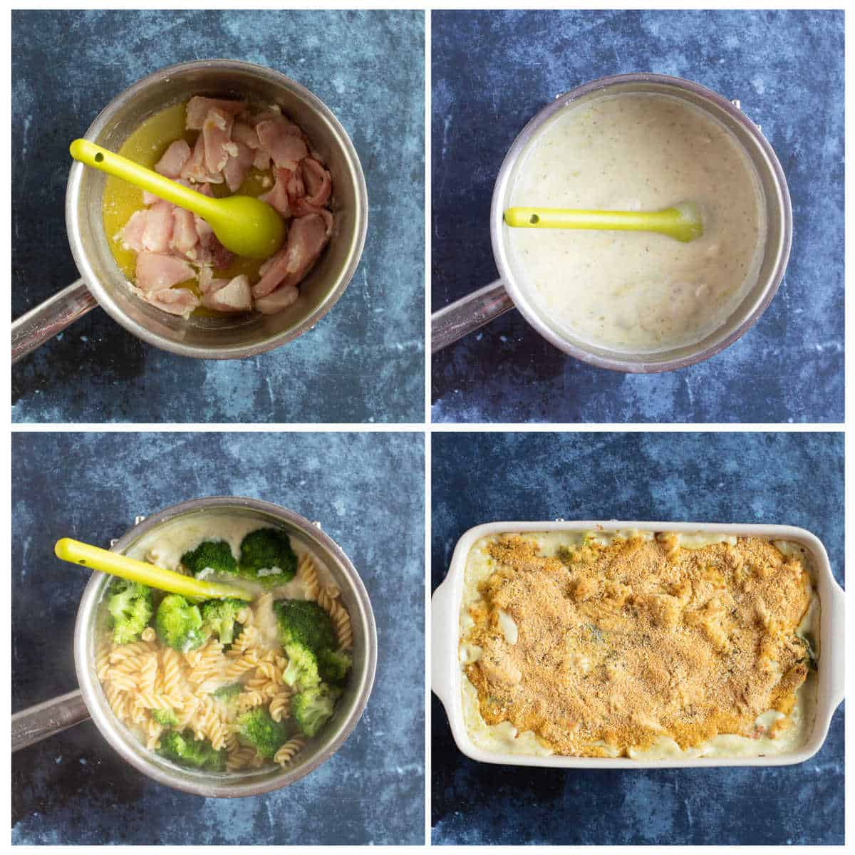 Step by step photo instruction collage for making the pasta bake.