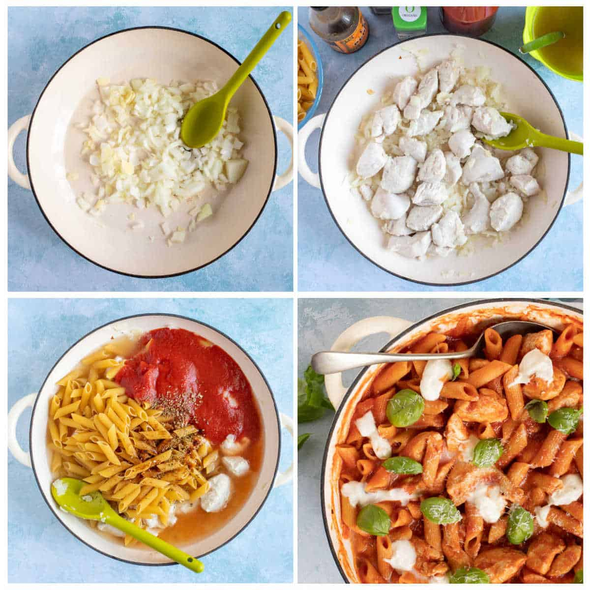 Step by step photo instructions for making chicken penne arrabbiata.