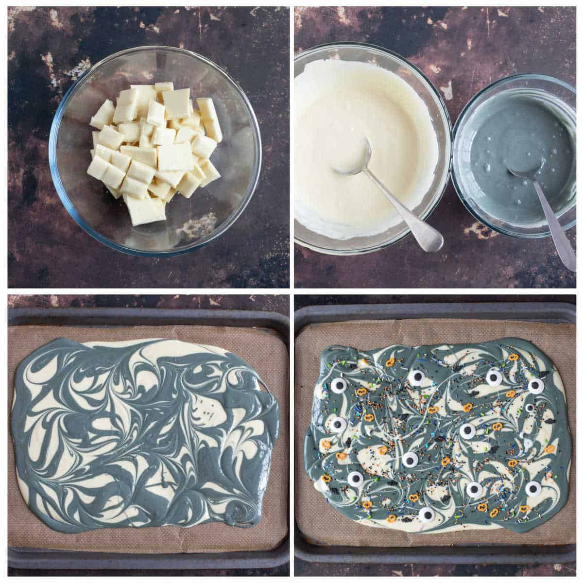 Step by step photo instructions for making Halloween chocolate bark.