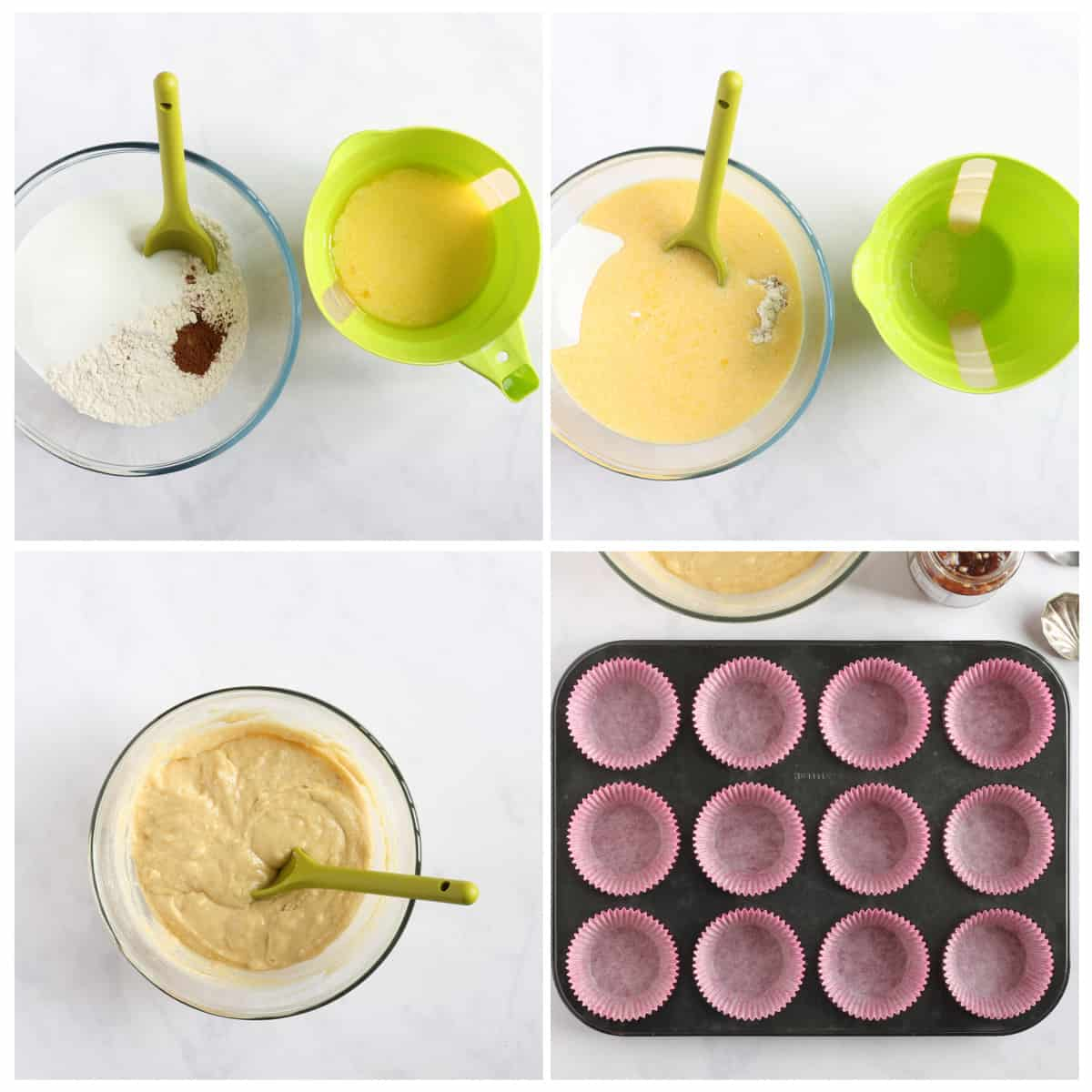 Step by step photo instructions collage for making mincemeat muffins part 1.