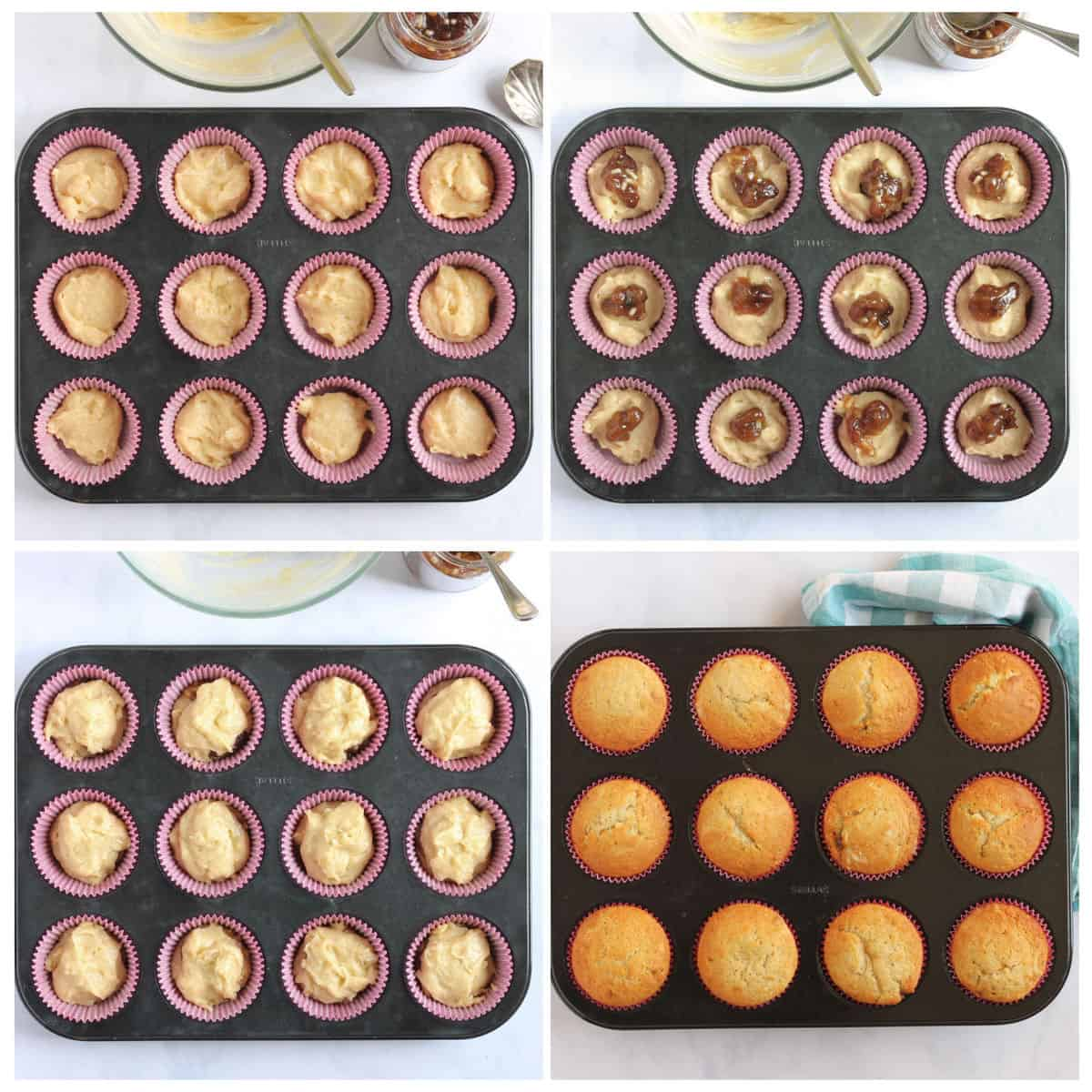 Step by step photo instruction collage for making mincemeat muffins part 2.