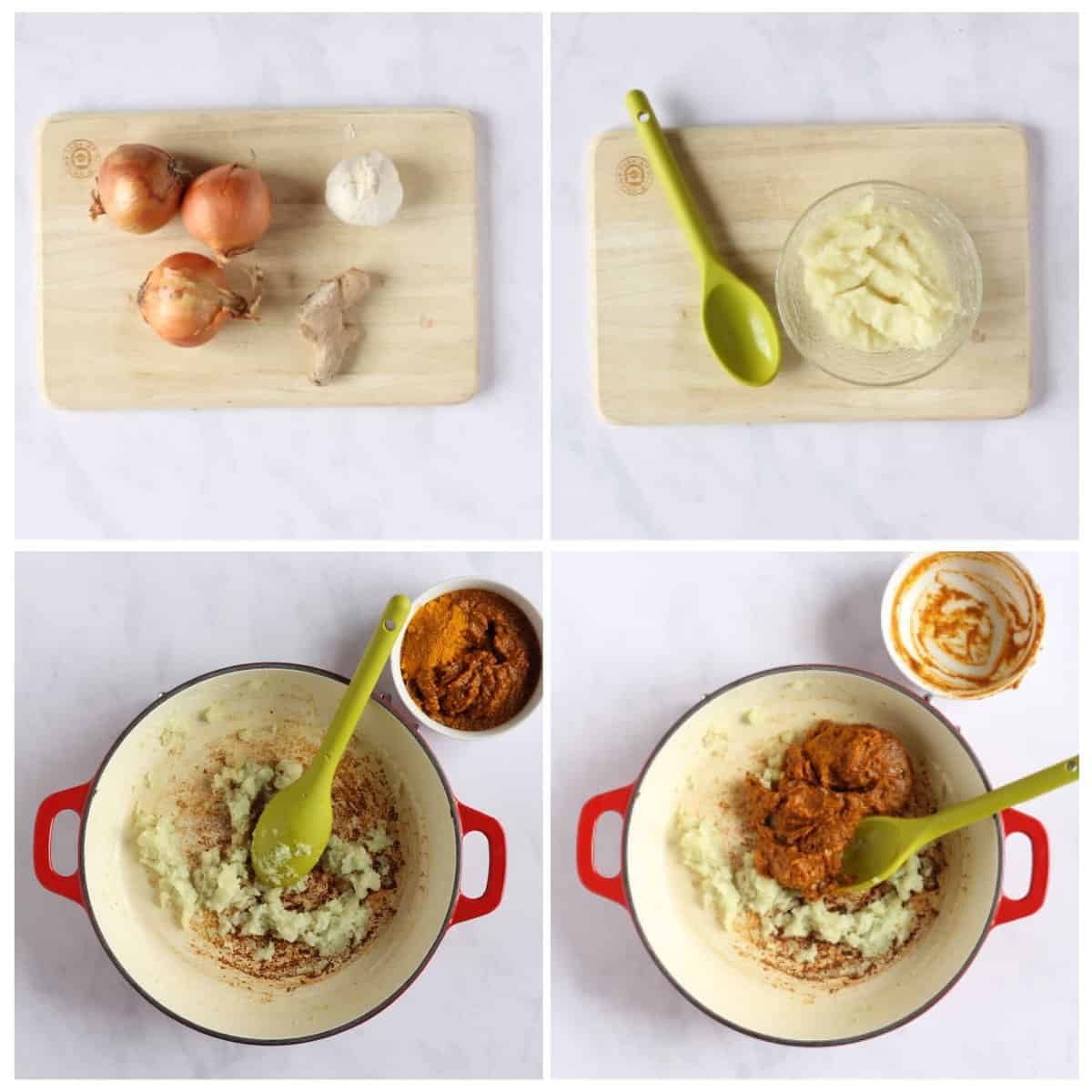 Step by step photo instructions for making the curry paste.
