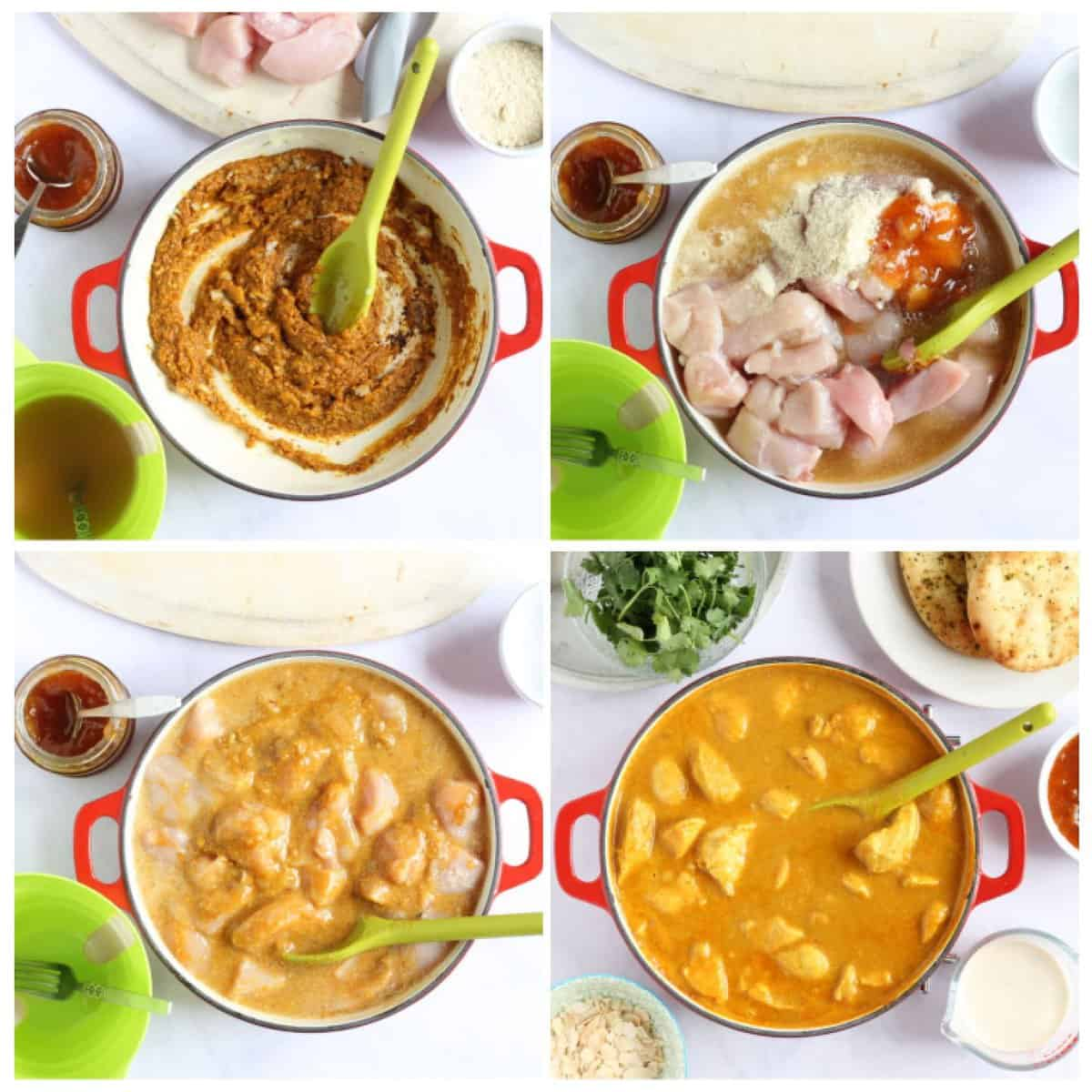 Step by step photo instructions for making the mild chicken curry.