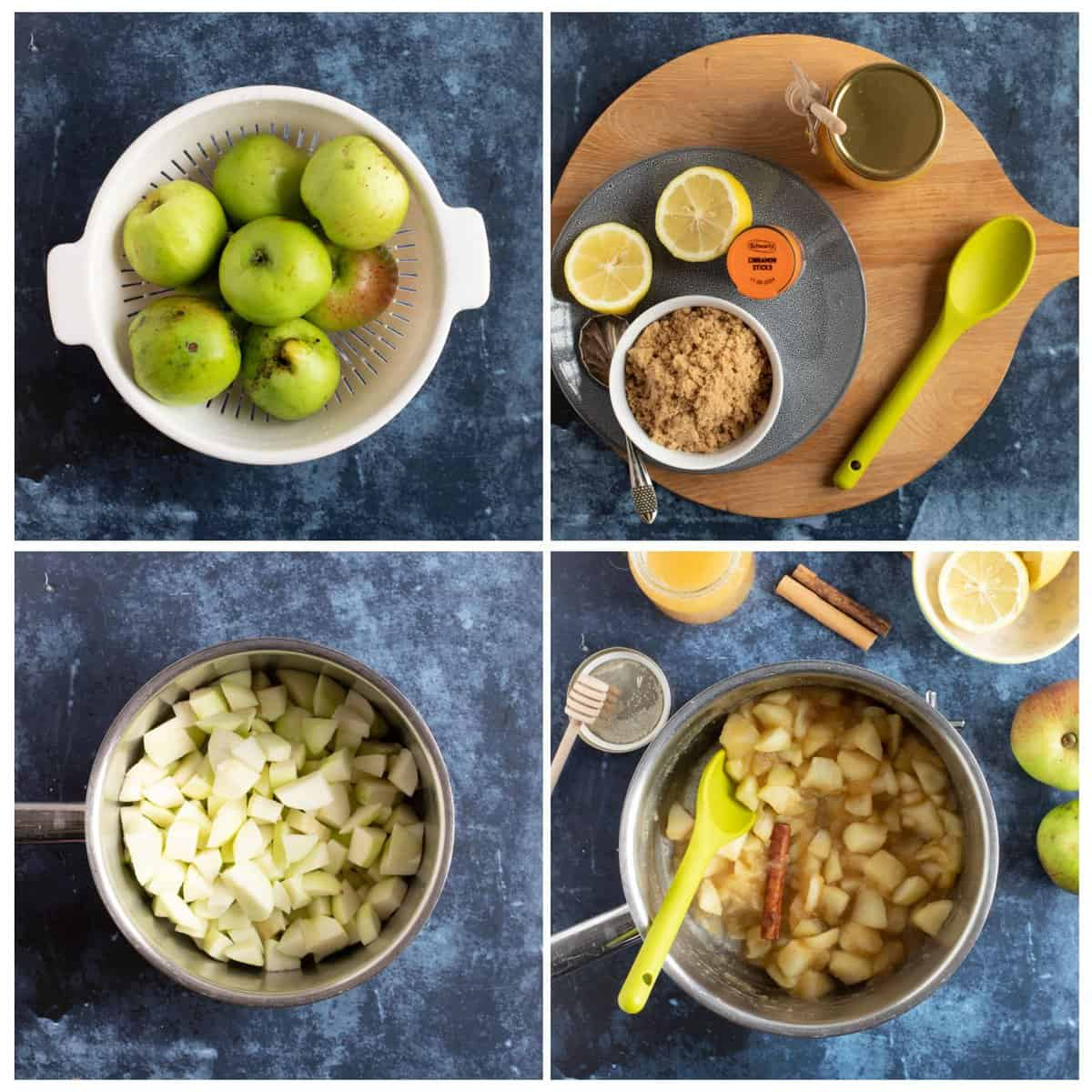 Step by step instructions collage for making stewed apples.