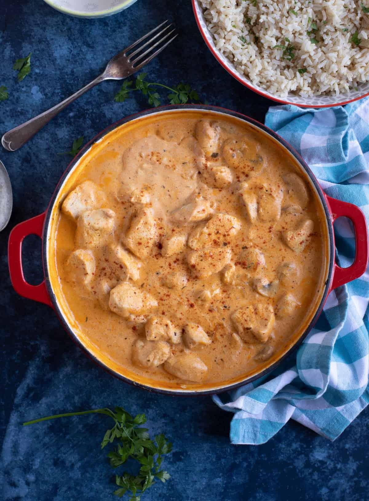 Chicken and mushroom stroganoff with brown rice.